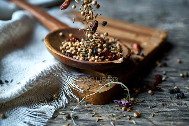 Dry mix of spices and dried berries in spoon on table — Stock Photo