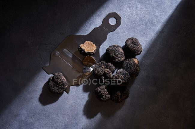 Desde arriba racimo de costosas trufas negras colocadas cerca de la afeitadora de metal en la superficie de yeso gris - foto de stock