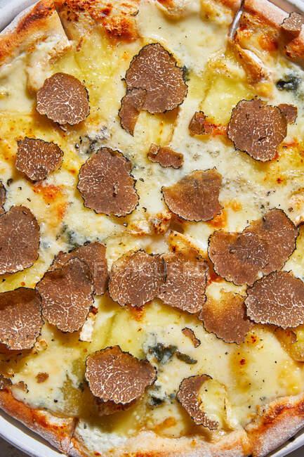 Зверху ви бачите свіжу трюфель на смачній піці. — стокове фото