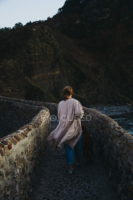 High angle back view of unrecognizable female in casual clothes with big brown dog standing on old stone bridge against rocky slope of mountain in Spain — Stock Photo
