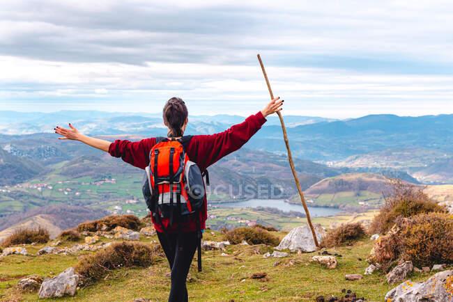Vista posteriore di escursionista irriconoscibile con zaino e bastone in piedi con le braccia tese e godendo della libertà visualizzazione maestoso scenario della campagna situata lungo la riva del fiume nella valle contro creste nebbiose all'orizzonte sotto cielo nuvoloso in Spagna — Foto stock
