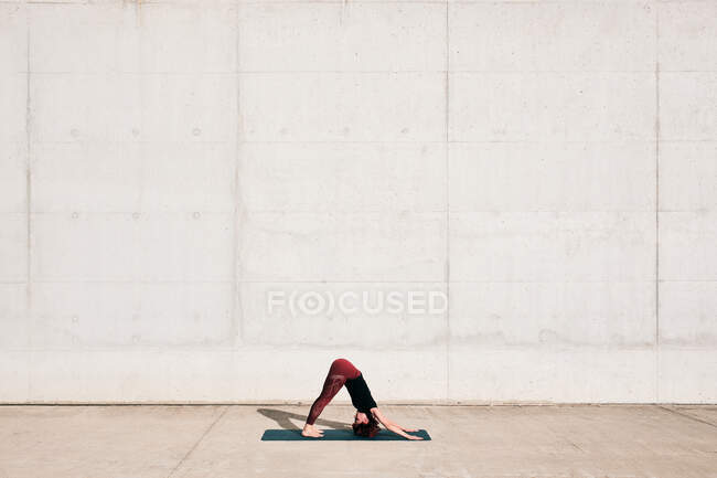 Side view of trendy fit female athlete in sportswear doing downward facing dog yoga pose on sports mat while training alone — Stock Photo