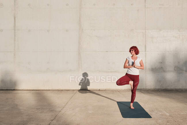 Confident barefooted female athlete in sportswear meditating while standing in vrikshasana position with hands closed to the chest in namaste — Stock Photo