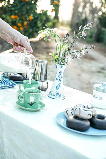 Woman pouring fresh milk from jug to ceramic mug while having picnic in garden — Stock Photo