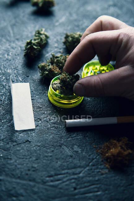 D'en haut homme sans visage broyage bourgeon de cannabis sec tout en roulant contondant sur la surface du grognement à la maison — Photo de stock