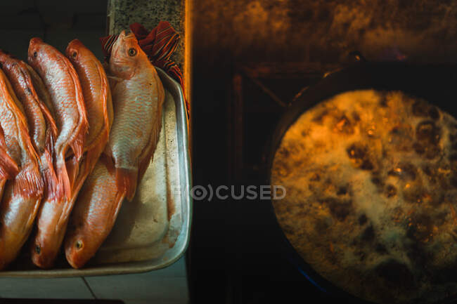 From Above Fresh Fish In Row On Tray Ready For Frying In Oil In Kitchen Meal Dish Stock Photo 357498692
