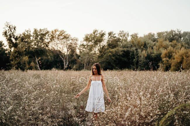 Нежная леди, стоящая в цветущем поле — стоковое фото
