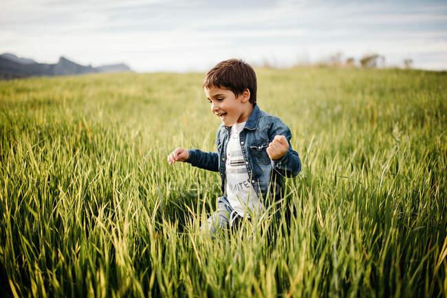 Веселий малюк у темному дні ходить на високому зеленому траві в сільській місцевості. — стокове фото