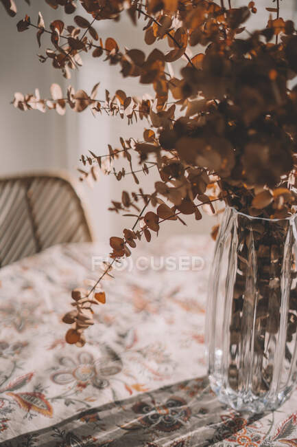 Plants in glass vase on table at sunny spring day — Stock Photo