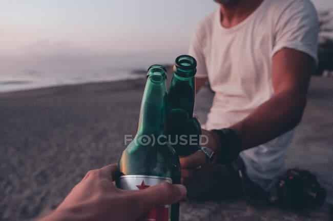 На заході сонця друзі смажать з пивом. — стокове фото