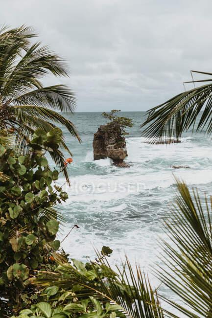 Dall'alto di grande roccia tra il mare blu ondulato vicino alla costa con piante tropicali verdi durante il periodo di tempesta — Foto stock