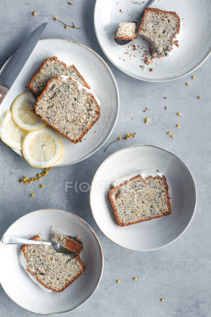 Top view of aromatic tasty homemade lemon and poppy seeds sponge cake cut on portions and served on white plates on marble table — Fotografia de Stock