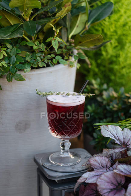Fresh tasty red cocktail with straw in glass on stand in bright day in green garden — Stock Photo