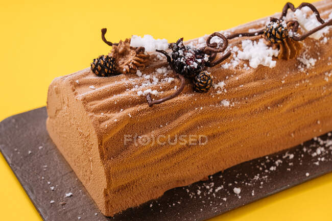 Одяг смачний різдвяний торт з облицюванням какао, прикрашений хвойними шишками і цукровими сніжинками на жовтому тлі. — стокове фото