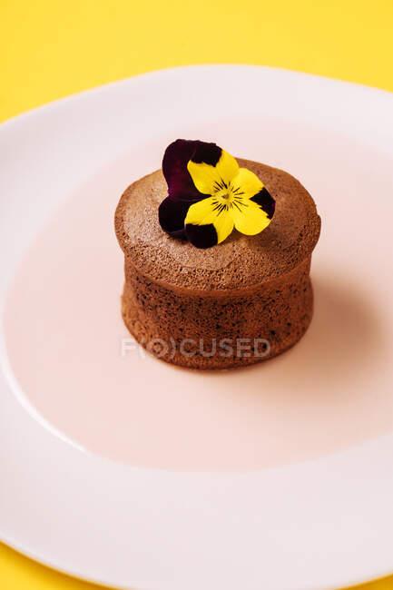 Schokoladenmuffin mit Fruchtfüllung — Stockfoto