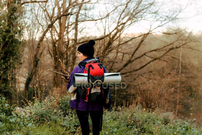 Backpacker trekking nella foresta autunnale — Foto stock