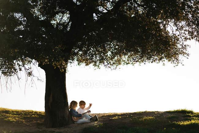 Vista laterale della bambina con ukulele seduta con fratello sotto un grande albero nel campo mentre riposano insieme e parlano durante la giornata estiva — Foto stock
