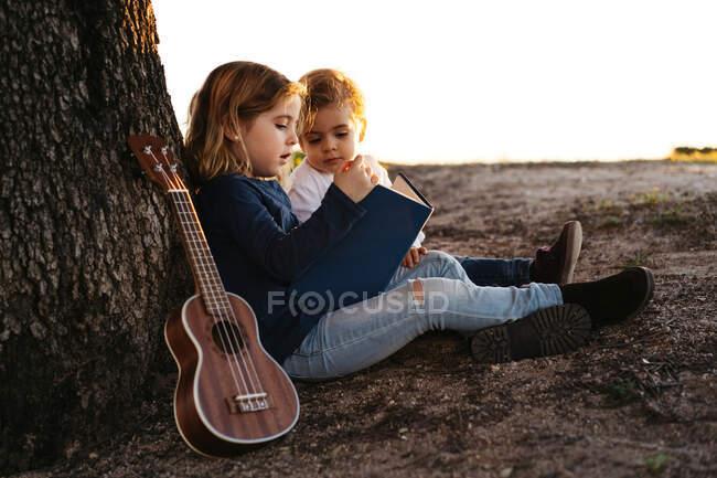 Vista lateral de la adorable niña leyendo interesante historia a su hermano menor mientras se sientan juntos bajo el árbol con la guitarra ukelele en el día de verano en el campo - foto de stock
