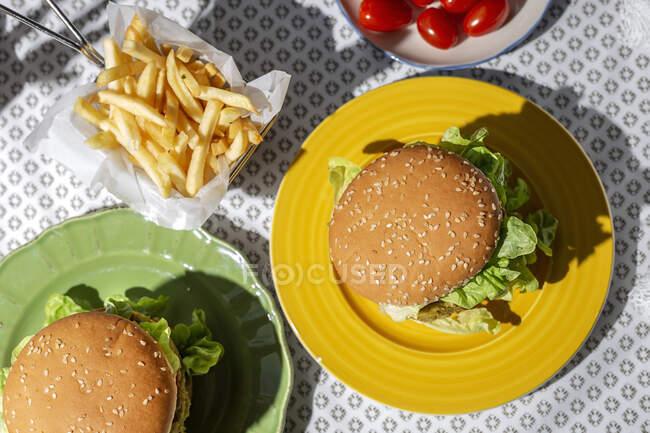 Вигляд зверху на свійську зелену сочевицю з помідорами, салатом і картоплею фрі. — стокове фото