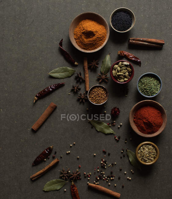 Top view composition with different kinds of natural aromatic spices placed on dark gray background — Stock Photo
