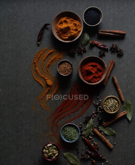 Top view composition with different kinds of natural aromatic spices placed on dark gray background with powder spice spilled on the surface — Stock Photo