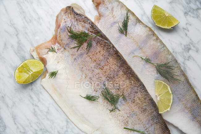 Top view of headless fish with fresh dill and pieces of fresh lime placed on marble table — Stock Photo