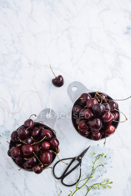 Top view of pots with ripe sweet red cherries on withe marble table with green branch — стоковое фото