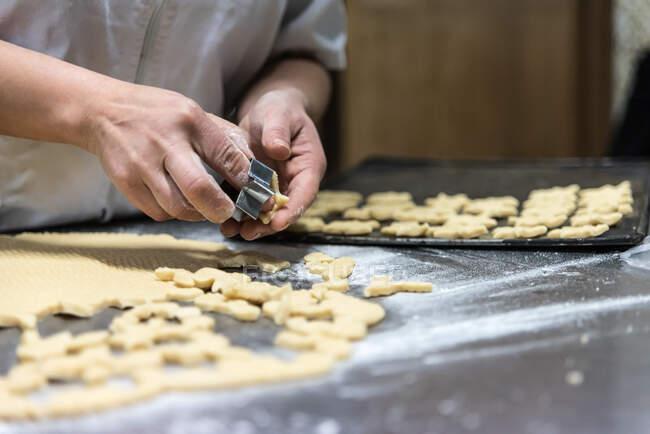 Невпізнаваний шеф-кухар ріже маленьке печиво з сирого тіста на металевому столі, вкритому борошном у пекарні. — стокове фото