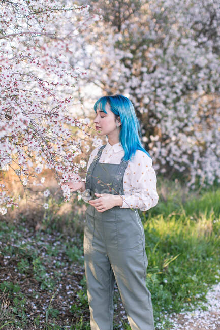 Young stylish female with long blue hair looking away wearing trendy overall enjoying fragrance of blooming tree while standing in spring garden — Stock Photo