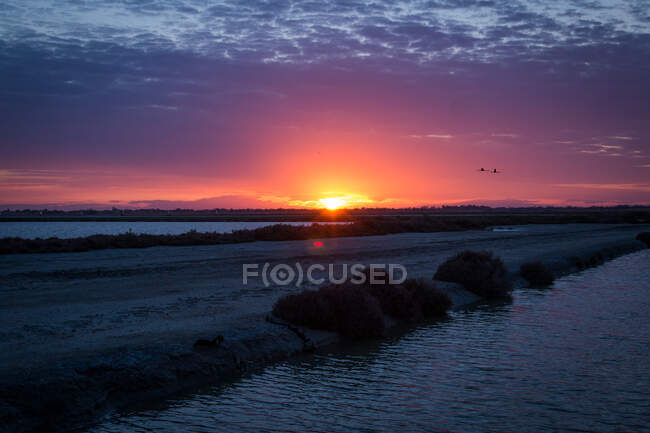 Amazing tranquil scenery of colorful sundown sky with clouds over calm dark wetlands — Stock Photo