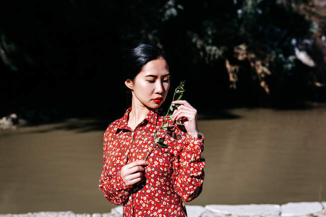 Stylish asian woman with closed eyes holding thin branch standing near peaceful lake on cloudless day in countryside — Stock Photo