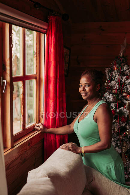 Side view of positive black female in casual dress looking at camera while standing near window in cozy wooden house with Christmas tree — Stock Photo