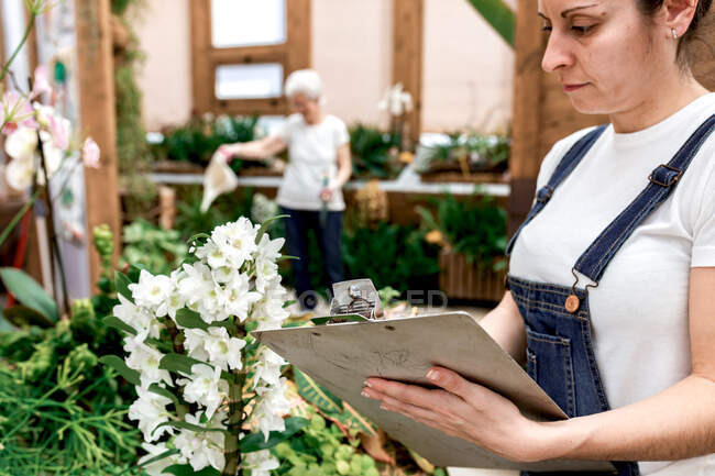 Crop adult woman writing on clipboard while standing near plant with white flowers during work in hothouse — Stock Photo