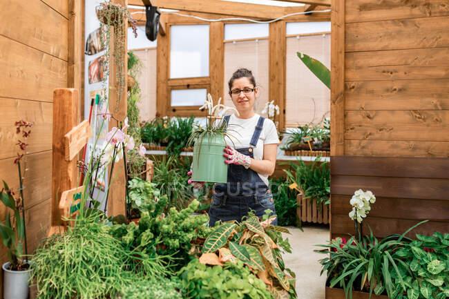Felice donna adulta sorridente alla fotocamera e che trasporta lattina con fiore in fiore mentre si lavora in giardino terrazza — Foto stock