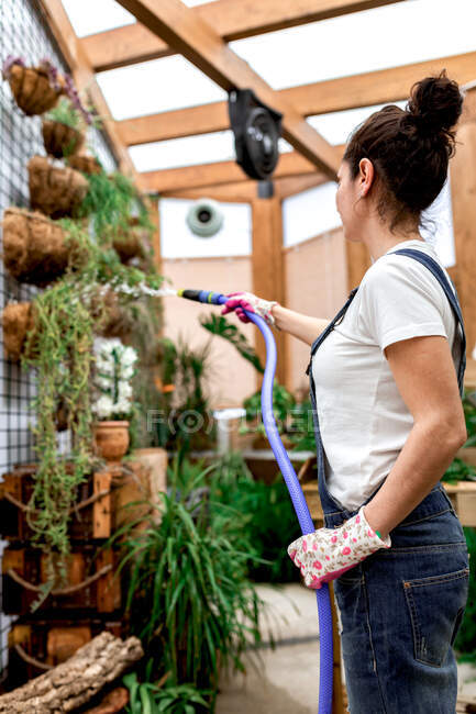 Side view of adult female in gloves using hose to water plants hanging on wall during work in indoor garden — Stock Photo