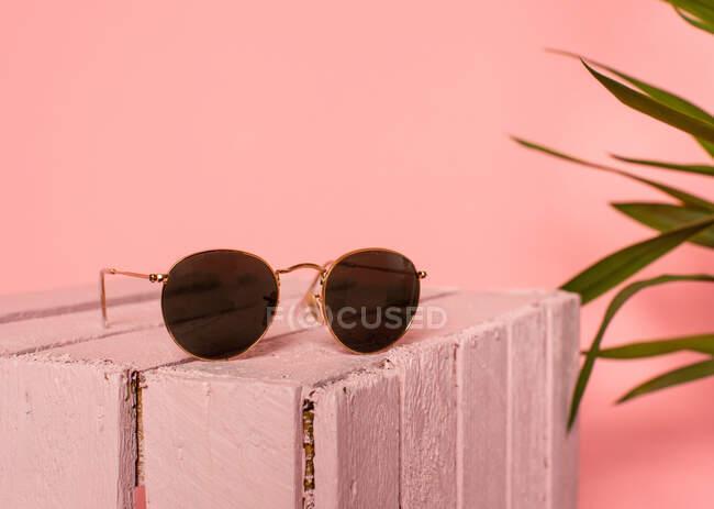 Lunettes de soleil féminines rétro tendance placées sur une boîte en bois rose près de plantes vertes sur fond rose — Photo de stock