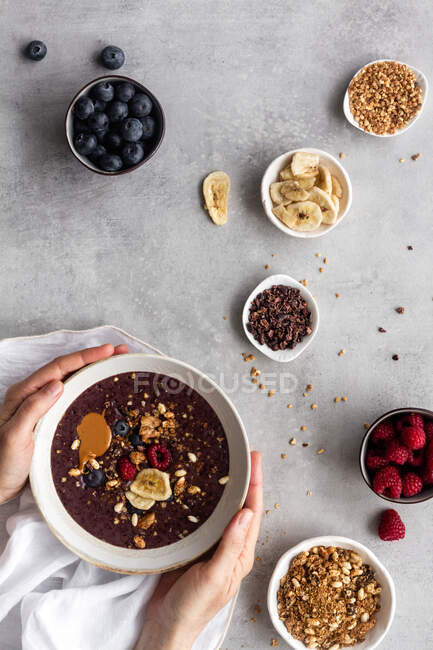Healthy acai bowls with ingredients — Stock Photo