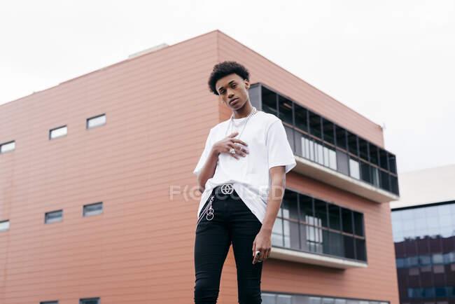 Низький кут стильного незалежного афроамериканського чоловіка в моді з металевими аксесуарами, що дивляться на камеру, стоячи навпроти рожевого будинку на вулицях міста. — стокове фото