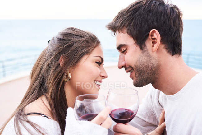 Cheerful young couple in casual wear toasting with glasses of red wine while enjoying happy moments together — Stock Photo