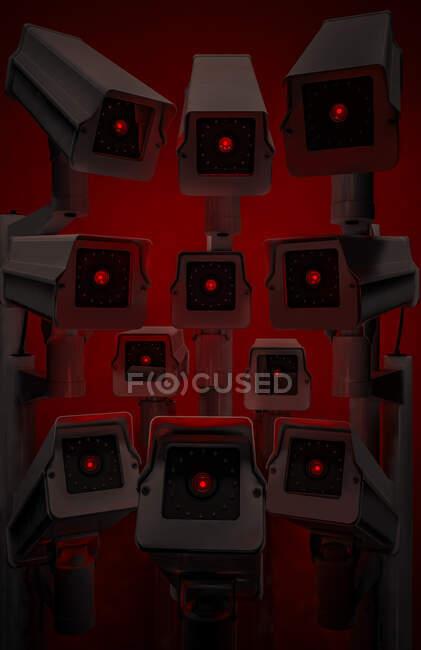 Contrôle de la population, surveillance vidéo pour contrôler la quarantaine du coronavirus — Photo de stock