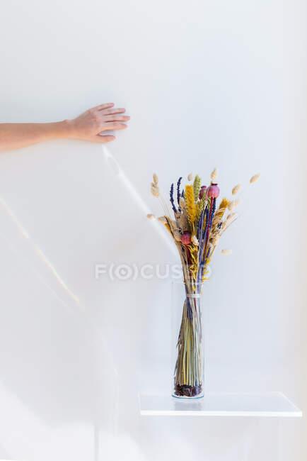 Ручной ловли солнца и вазы с сухими цветами на полке — стоковое фото