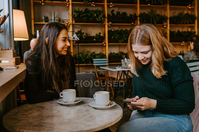 Female friends resting in cozy cafe — Stock Photo