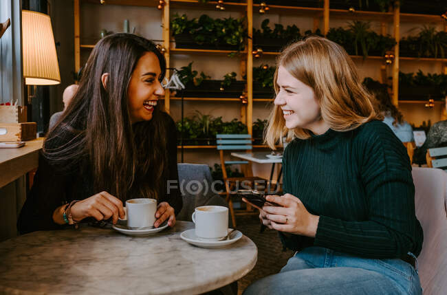 Amigos do sexo feminino descansando no café acolhedor — Fotografia de Stock