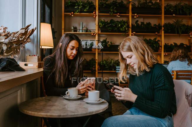 Amis féminins se reposant dans un café confortable — Photo de stock