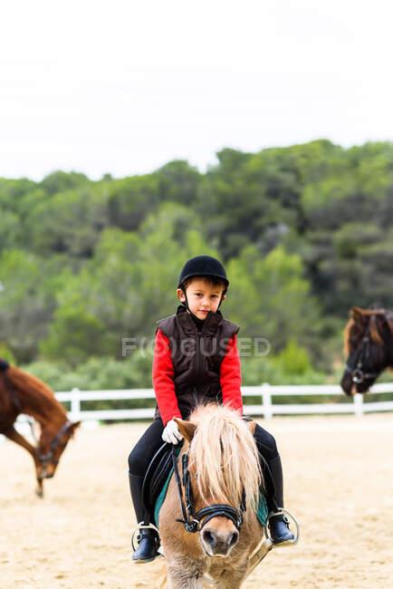 Criança olhando para a câmera no traje de jóquei sentado na sela de um pônei durante a aula na escola de equitação — Fotografia de Stock