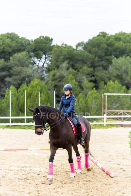 Adolescente jóquei no capacete montando cavalo marrom sob galhos de árvore na arena de curativo durante o treinamento na escola equestre — Fotografia de Stock