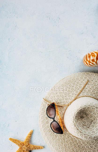 Trendy und Sonnenbrille in der Nähe von Muscheln und Seesternen für Sommerferienkonzept auf Gipsoberfläche — Stockfoto