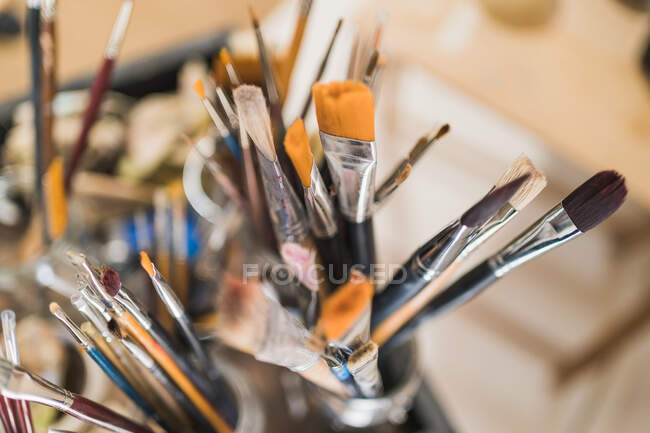 Many various paintbrushes, close up shot — Stock Photo