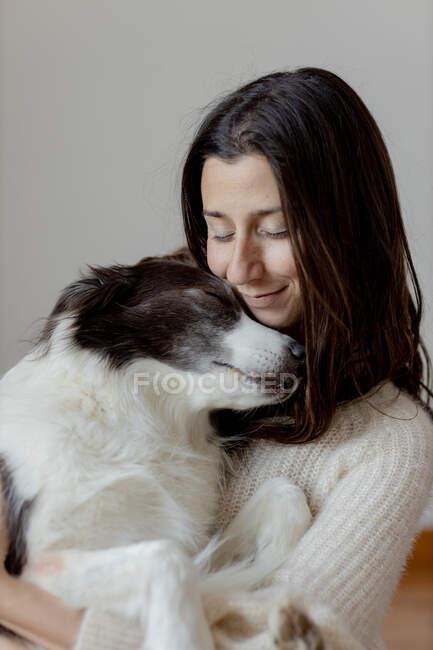 Carinhoso fêmea em camisola de lã abraçando engraçado Border Collie cão enquanto sentado no chão de madeira juntos — Fotografia de Stock
