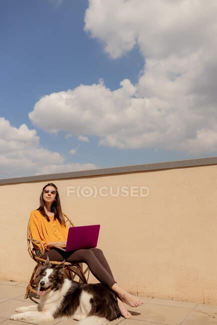 Brunette mujer en equipo casual sentada en silla y navegando en red púrpura mientras trabaja y disfruta del sol en la terraza de la casa durante la cuarentena. - foto de stock